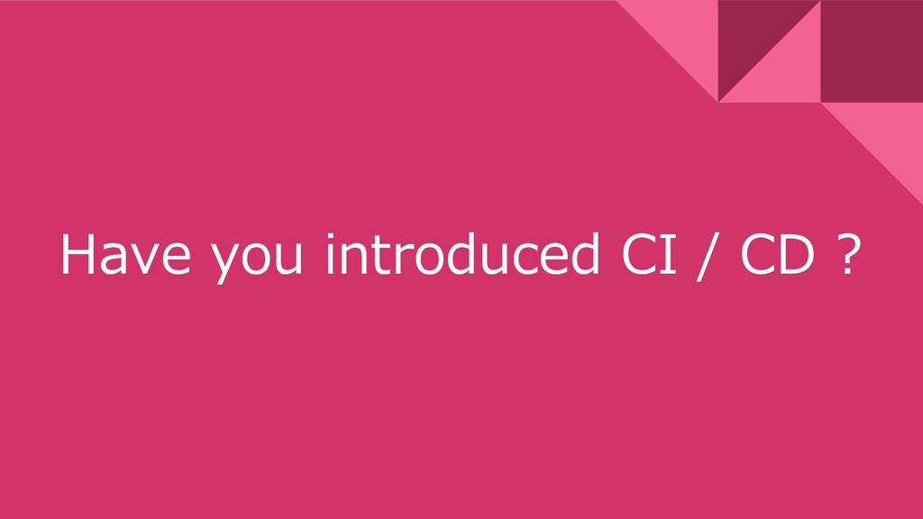 Have you introduced CI / CD ?