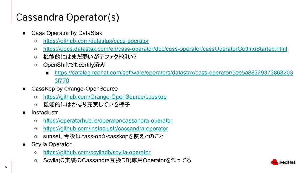 Cassandra Operator(s) 6 ● Cass Operator by Data...