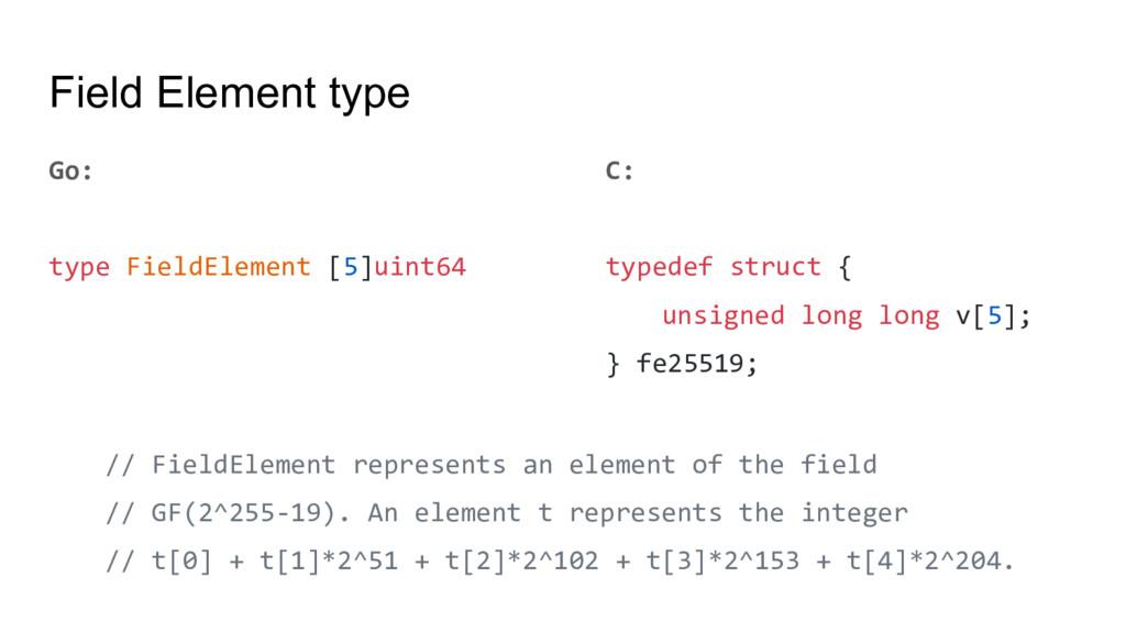Field Element type Go: type FieldElement [5]uin...