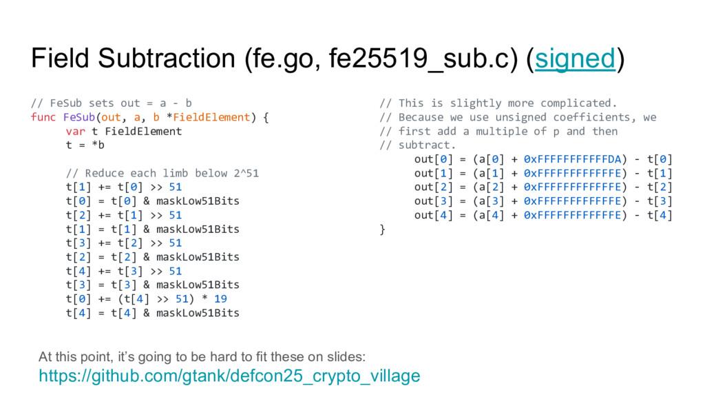 Field Subtraction (fe.go, fe25519_sub.c) (signe...