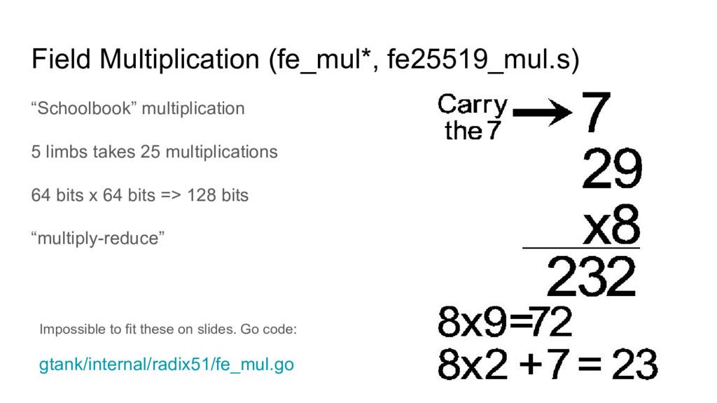 "Field Multiplication (fe_mul*, fe25519_mul.s) ""..."
