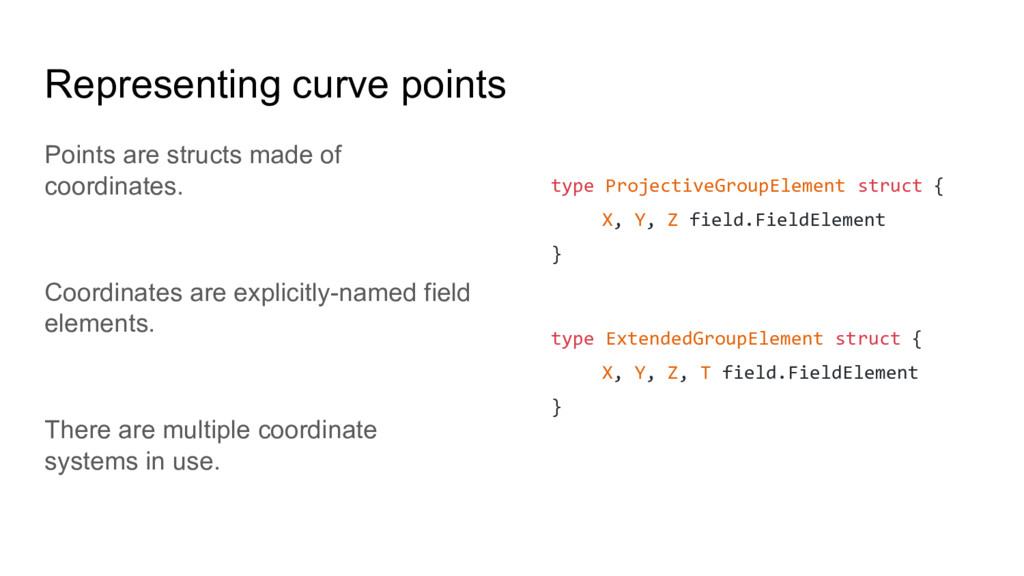 Representing curve points Points are structs ma...