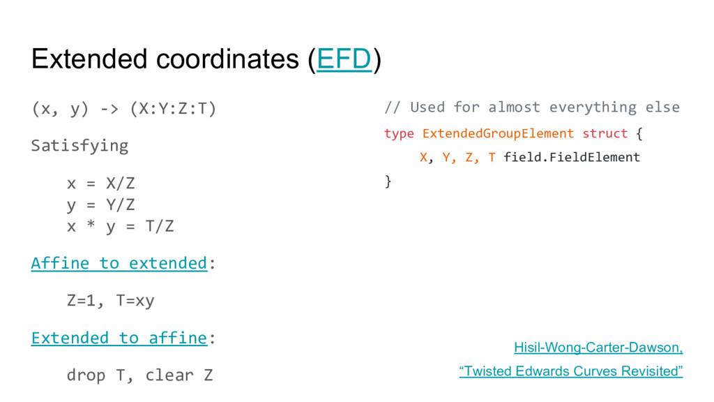 Extended coordinates (EFD) (x, y) -> (X:Y:Z:T) ...
