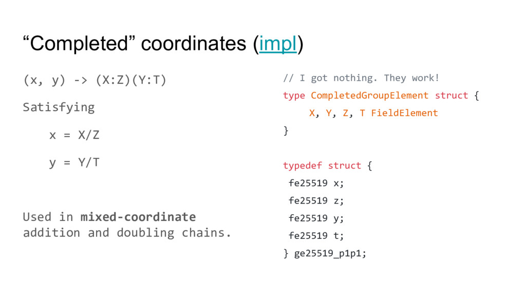 """""""Completed"""" coordinates (impl) (x, y) -> (X:Z)(..."""