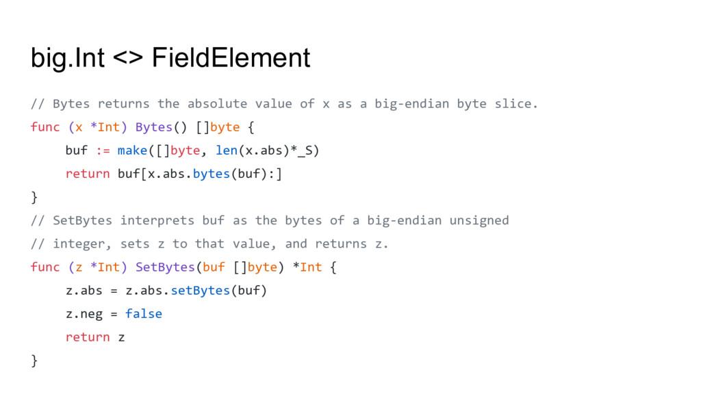 big.Int <> FieldElement // Bytes returns the ab...
