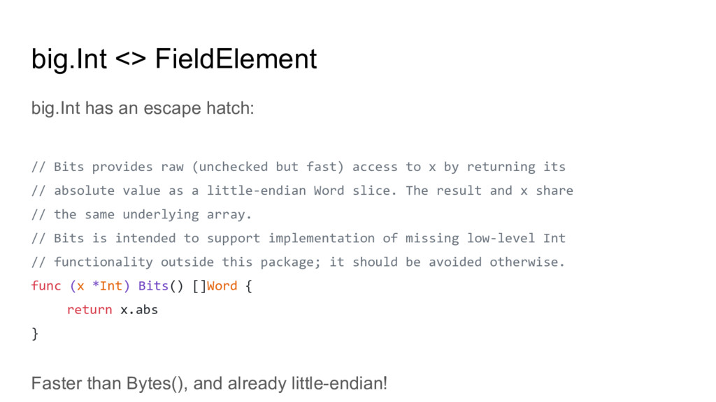 big.Int <> FieldElement big.Int has an escape h...