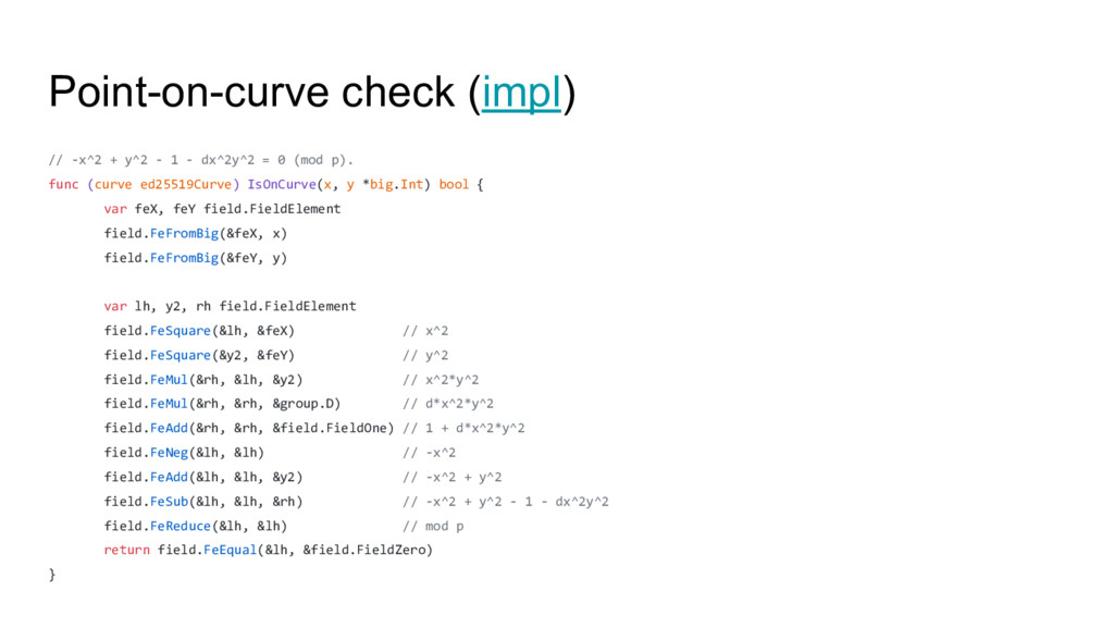 Point-on-curve check (impl) // -x^2 + y^2 - 1 -...