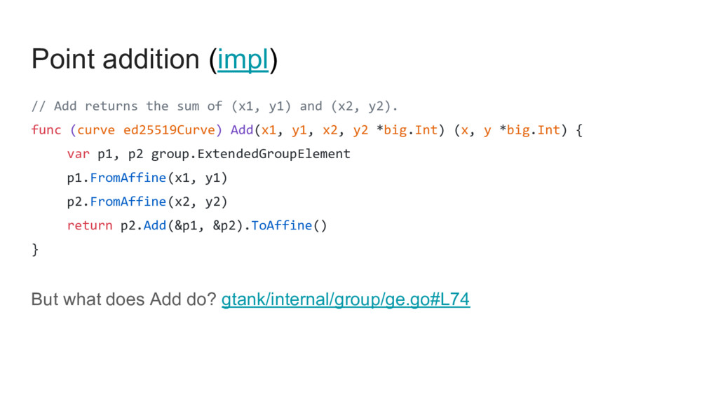 Point addition (impl) // Add returns the sum of...