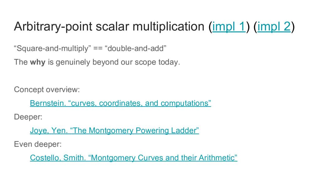 Arbitrary-point scalar multiplication (impl 1) ...