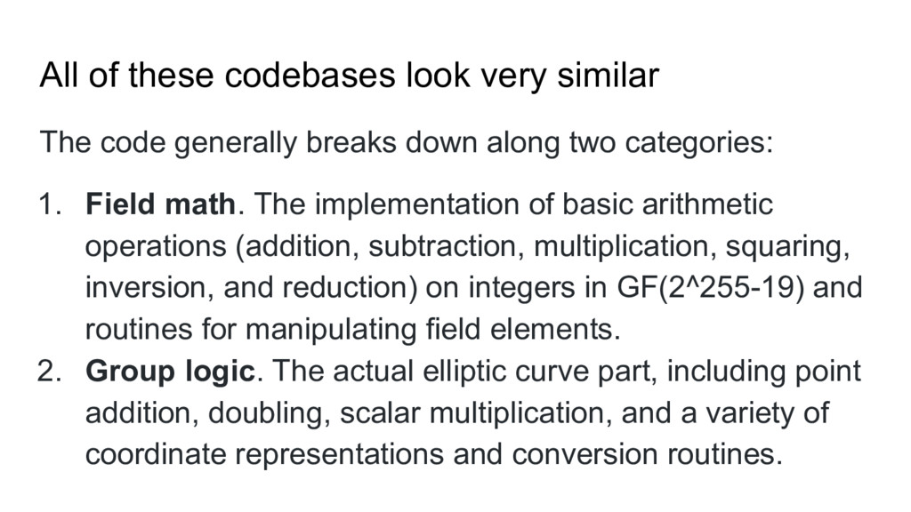 All of these codebases look very similar The co...