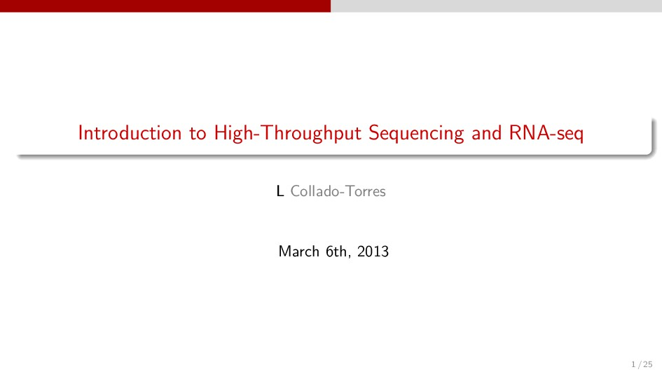 Introduction to High-Throughput Sequencing and ...