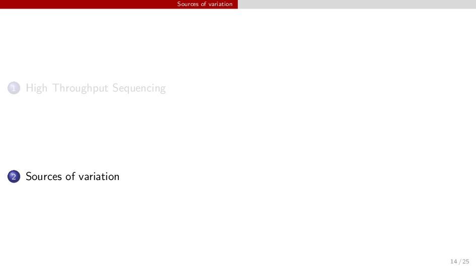 Sources of variation 1 High Throughput Sequenci...