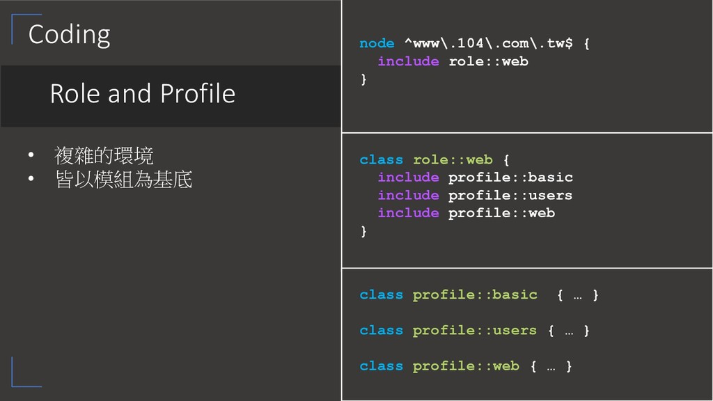 Coding Role and Profile •  •   class ...