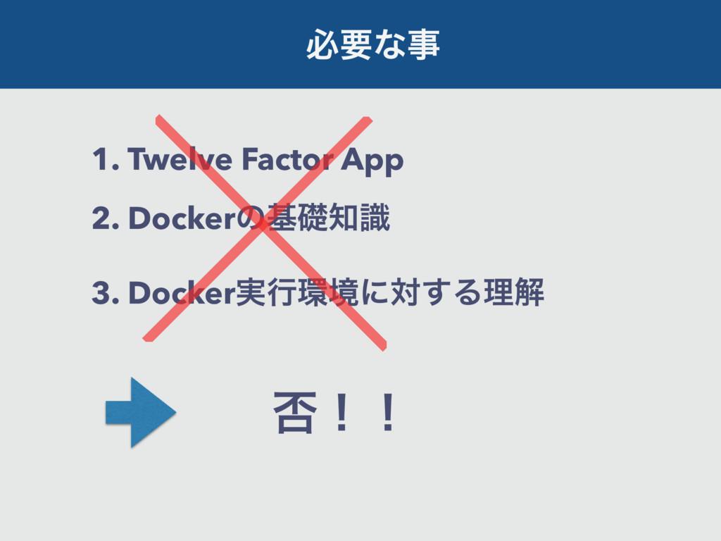 ඞཁͳ 1. Twelve Factor App 2. Dockerͷجૅࣝ 3. Doc...