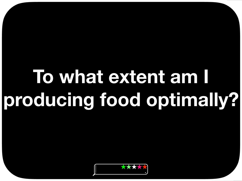 To what extent am I producing food optimally? Ç...