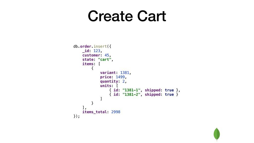 Create Cart db.order.insert({ _id: 123, custome...