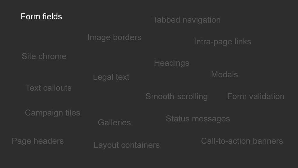 Form fields Image borders Tabbed navigation Int...