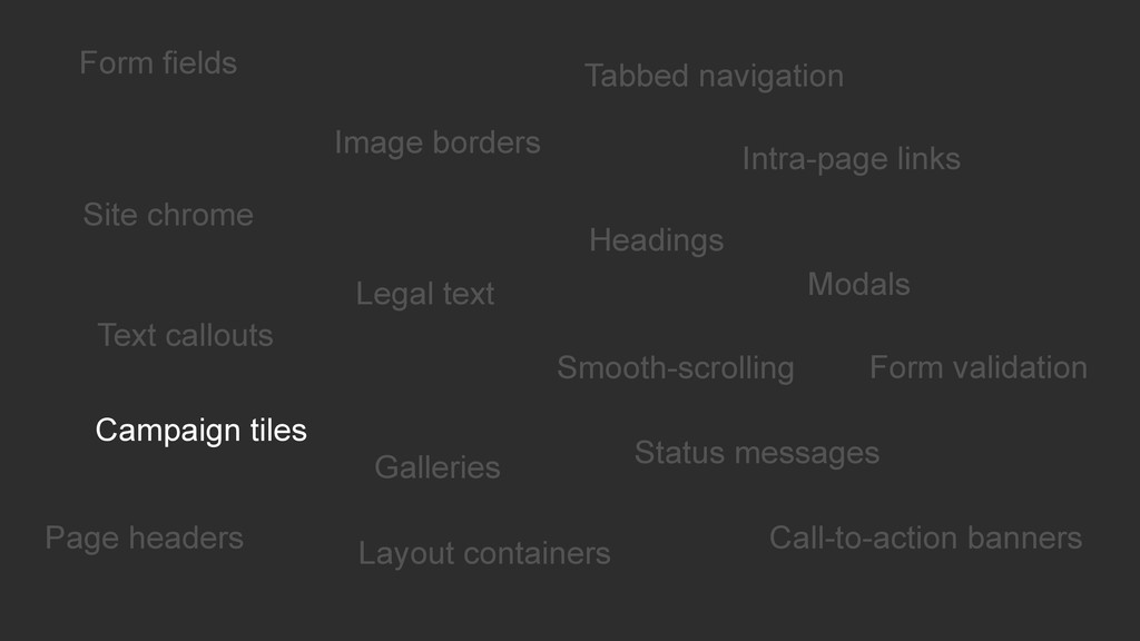 Form fields Intra-page links Headings Modals Fo...