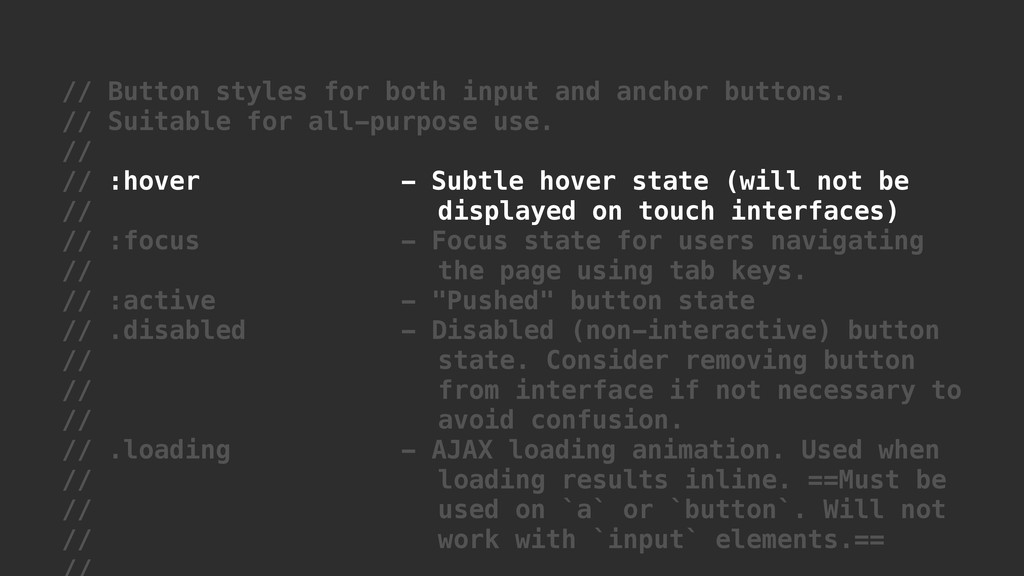 // Button styles for both input and anchor butt...