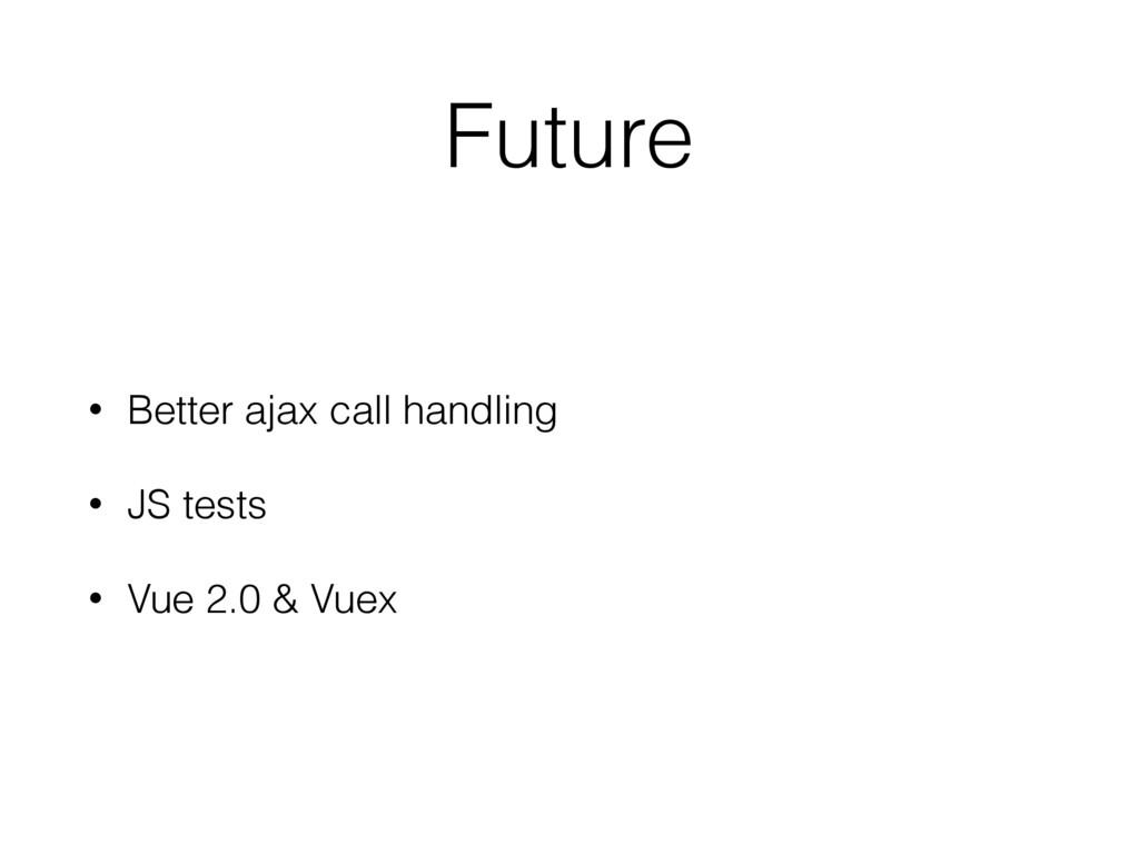 Future • Better ajax call handling • JS tests •...