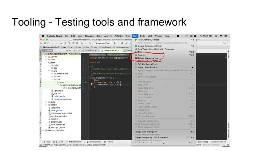 Tooling - Testing tools and framework