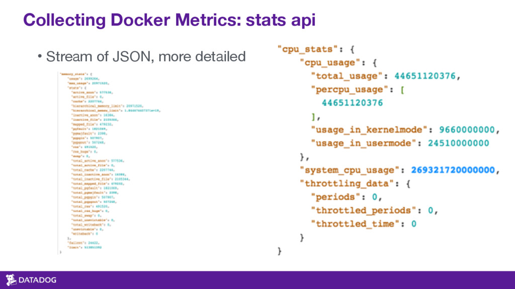 Collecting Docker Metrics: stats api • Stream o...