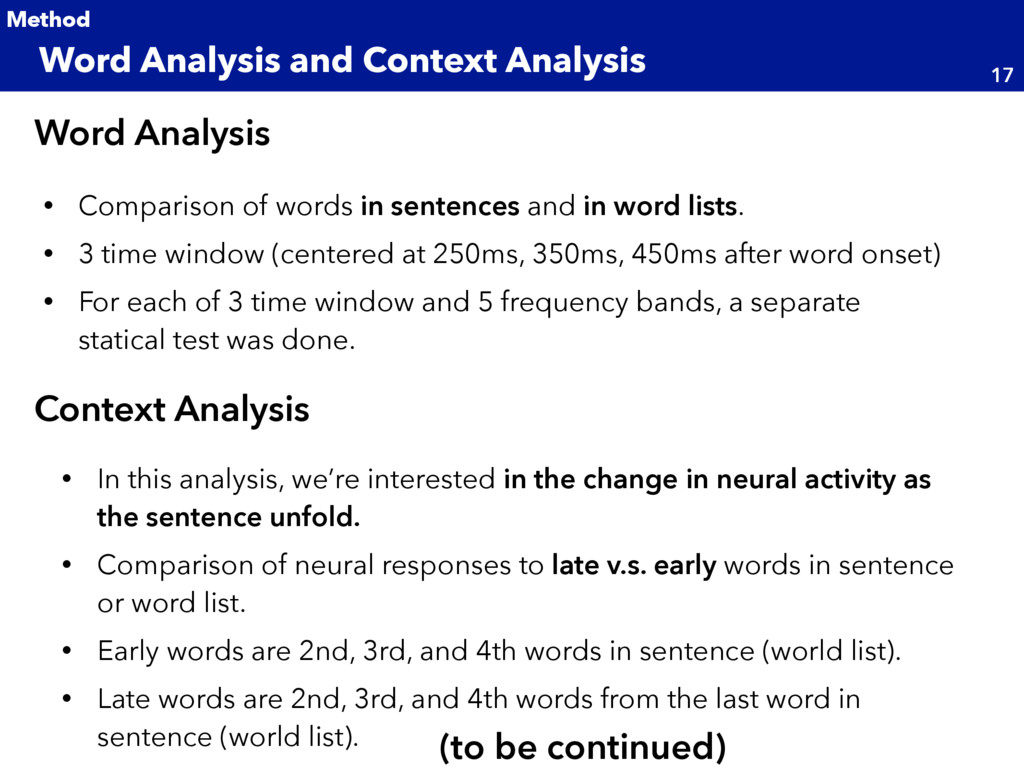 • Comparison of words in sentences and in word ...