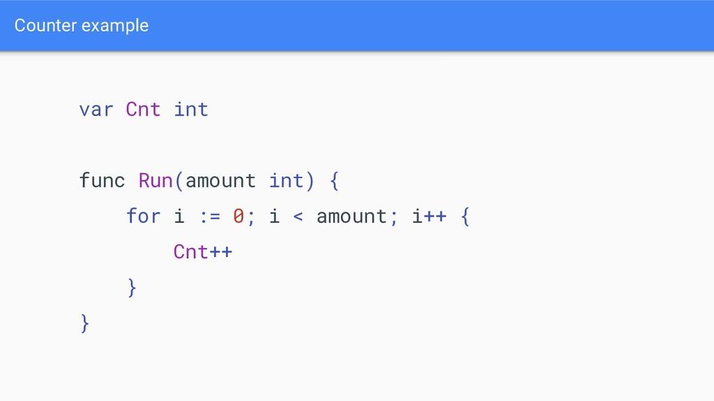 Counter example var Cnt int func Run(amount int...
