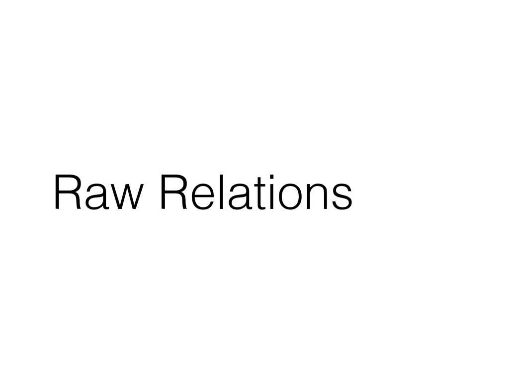 Raw Relations