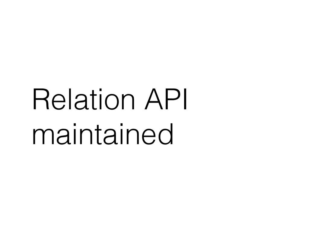 Relation API maintained