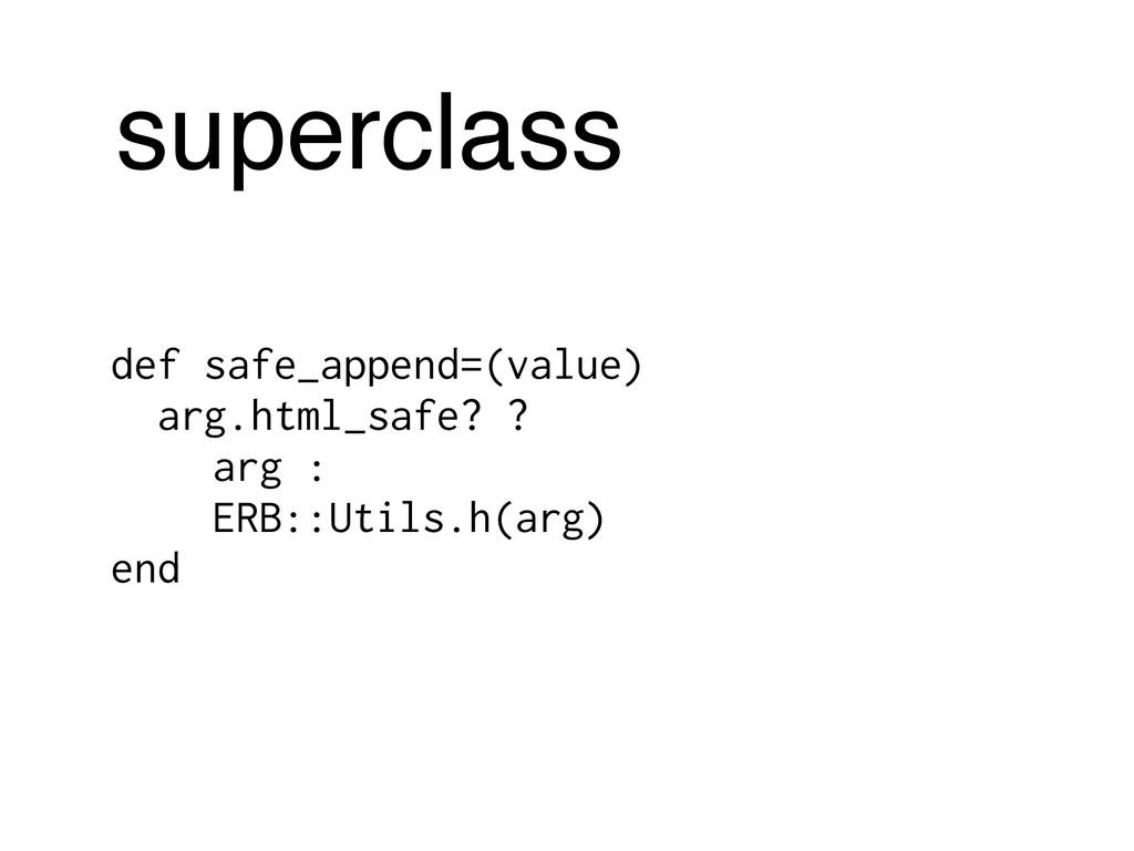 superclass def safe_append=(value) arg.html_saf...