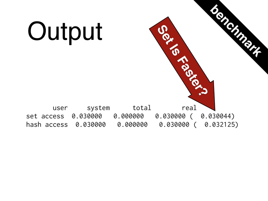 Output user system total real set access 0.0300...