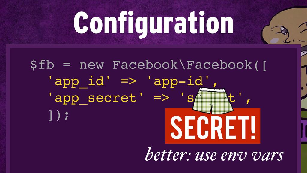 $fb = new Facebook\Facebook([! 'app_id' => 'app...
