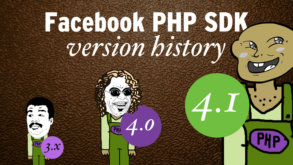 Facebook PHP SDK 4.1 version history 4.o 3.x