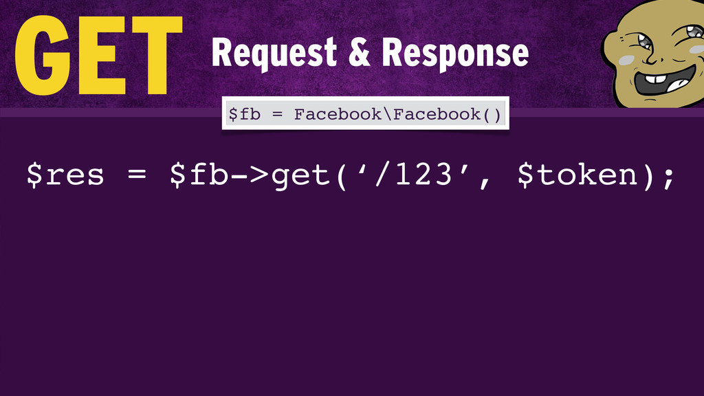 $res = $fb->get('/123', $token); $fb = Facebook...