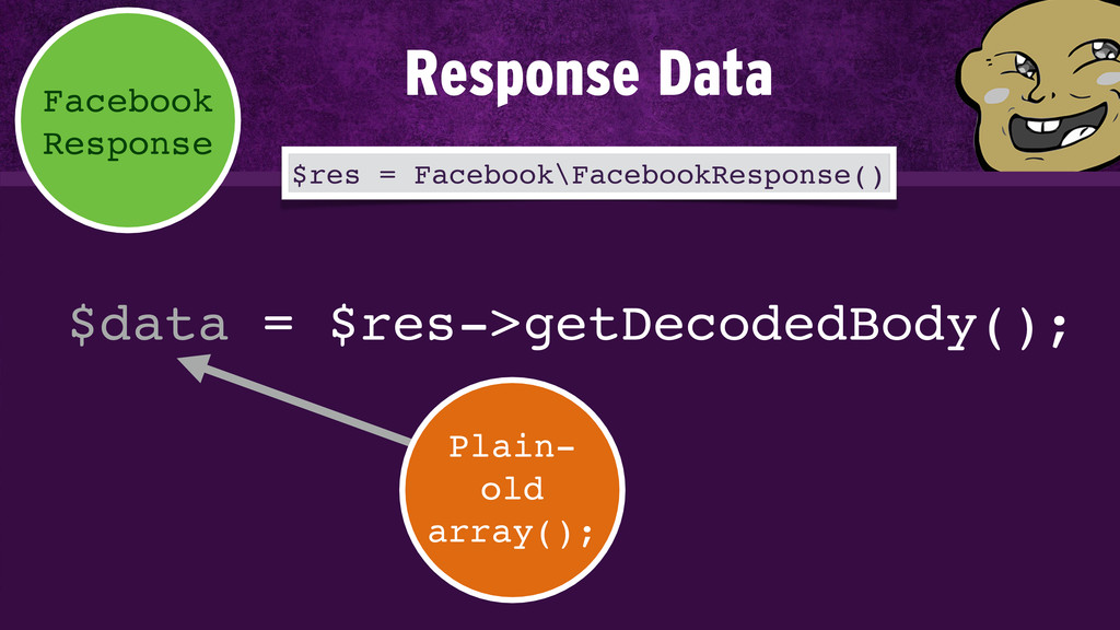 $data = $res->getDecodedBody(); Facebook Respon...