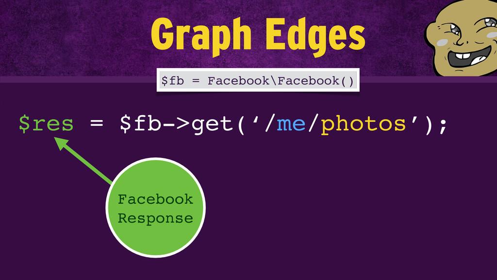 $res = $fb->get('/me/photos'); Facebook Respons...