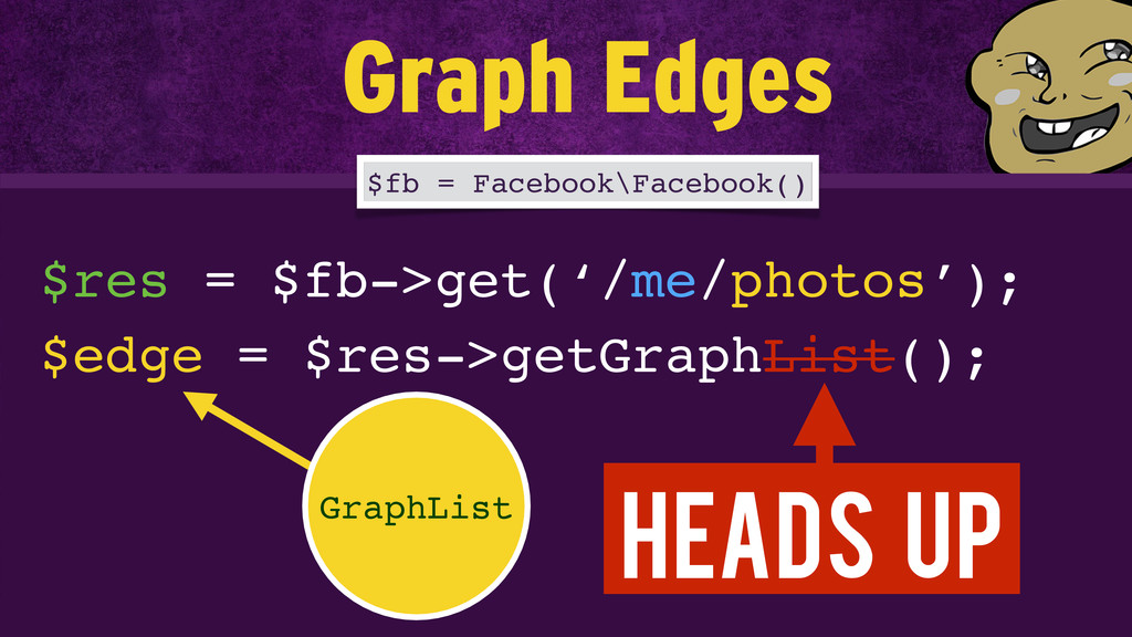 $res = $fb->get('/me/photos'); $fb = Facebook\F...