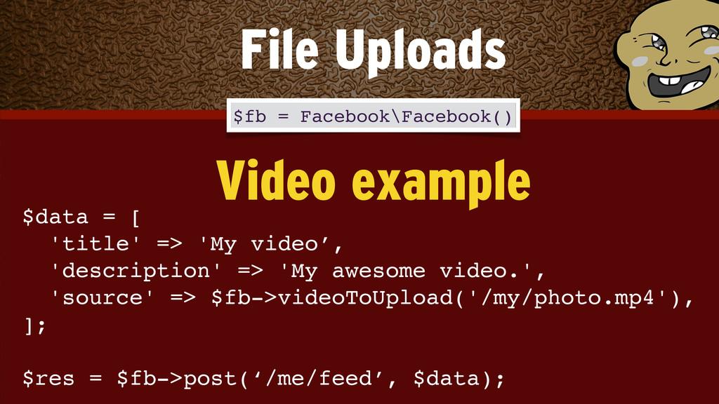 $data = [! 'title' => 'My video', 'description...