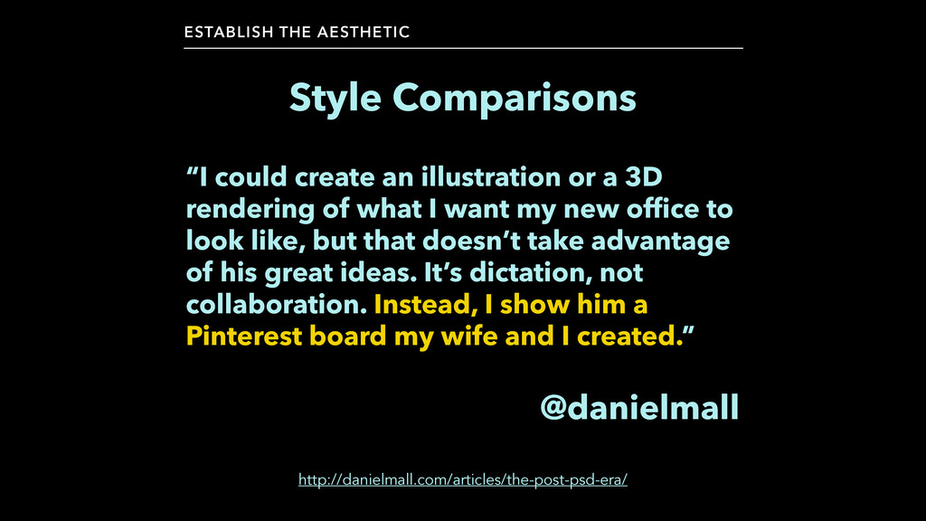 "Style Comparisons ESTABLISH THE AESTHETIC ""I co..."