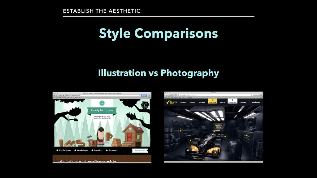 Style Comparisons ESTABLISH THE AESTHETIC Illus...
