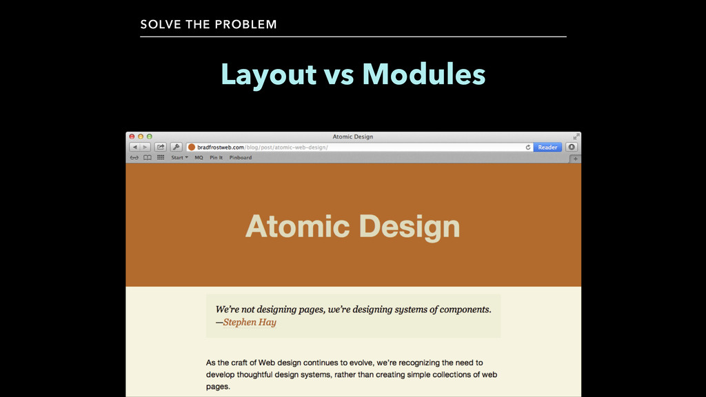 Layout vs Modules SOLVE THE PROBLEM