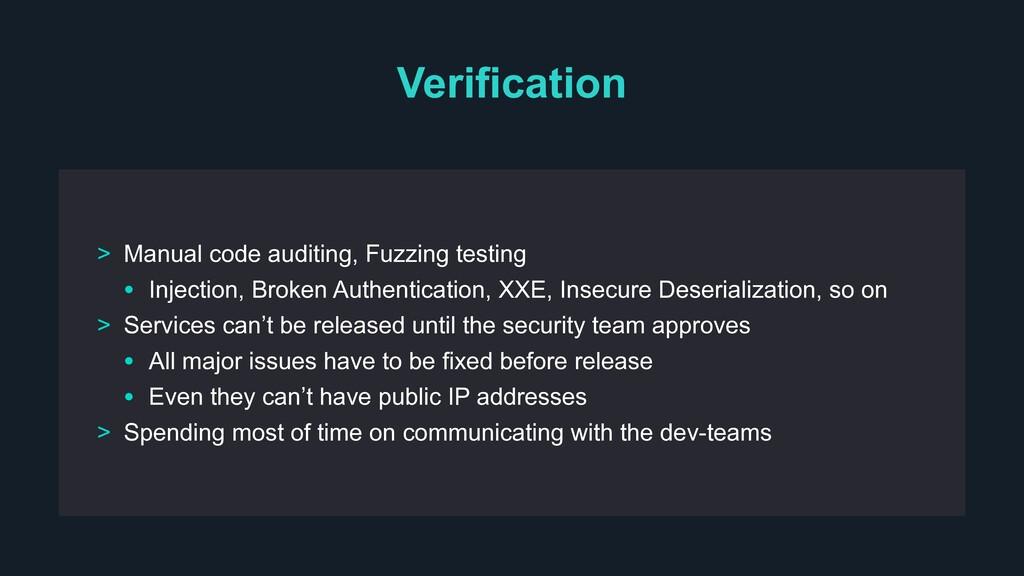 Verification > Manual code auditing, Fuzzing te...
