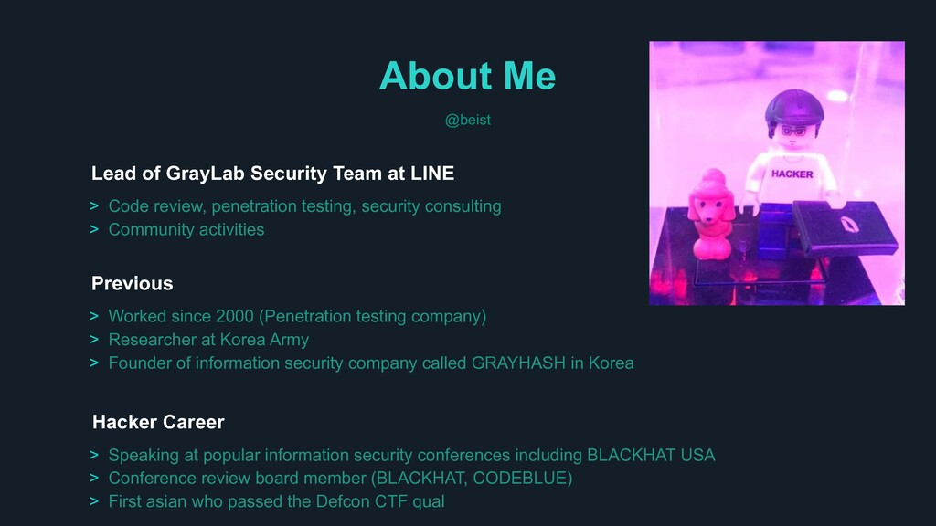 About Me @beist Previous Hacker Career > Speaki...