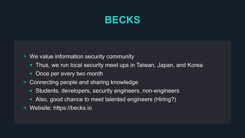 BECKS > We value information security community...