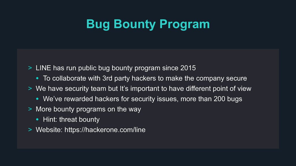 Bug Bounty Program > LINE has run public bug bo...