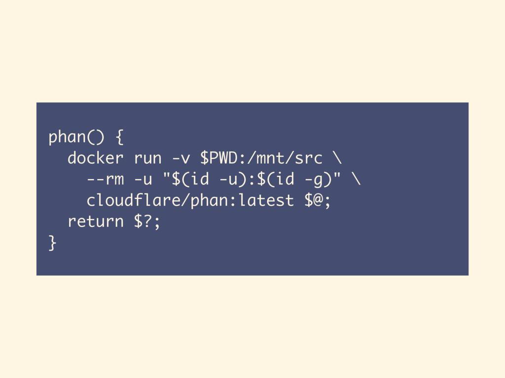 phan() { docker run -v $PWD:/mnt/src \ --rm -u ...