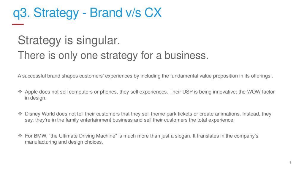 9 q3. Strategy - Brand v/s CX Strategy is singu...
