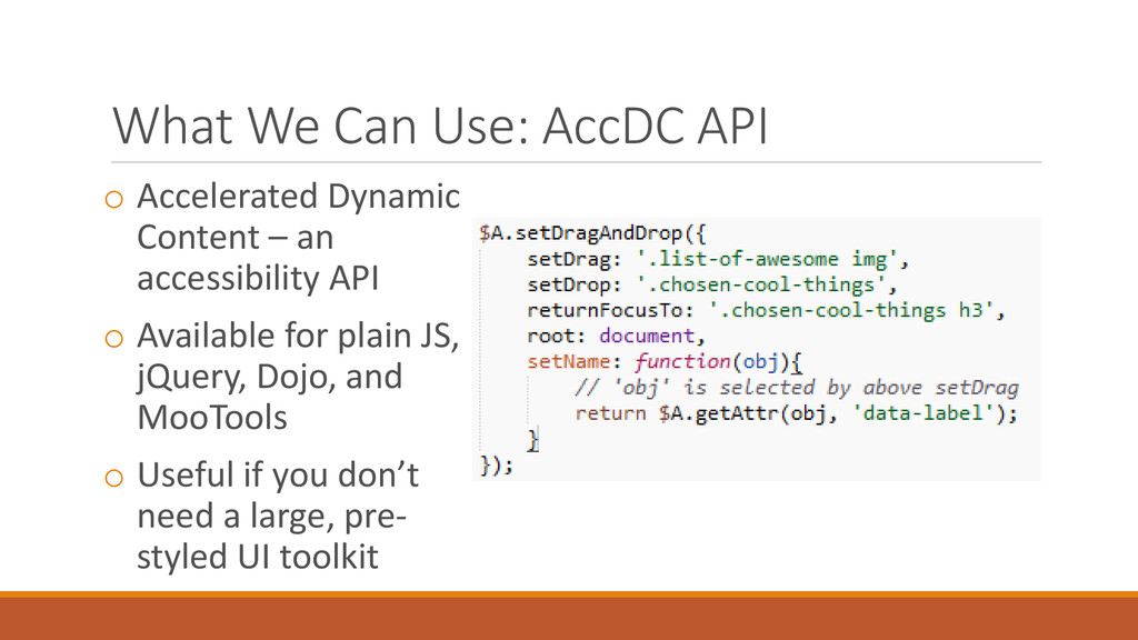 What We Can Use: AccDC API o Accelerated Dynami...