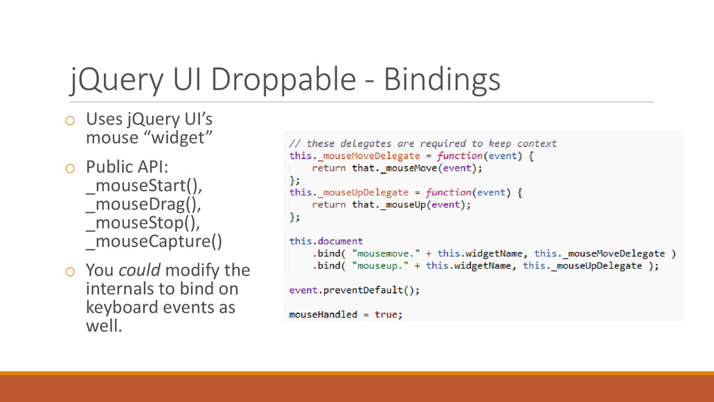jQuery UI Droppable - Bindings o Uses jQuery UI...